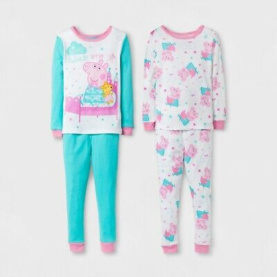 Peppa Pig Toddler Girls' Cotton Pajamas 4-Piece Set 2T