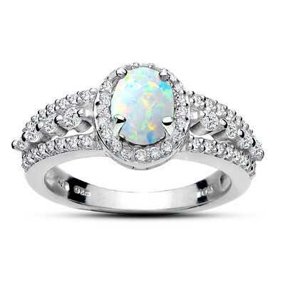 Created White Opal Stone - Sterling Silver Created Opal and White Topaz Oval Ring