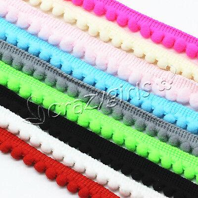 5Yards 10mm Width Pom Pom Trim Ball Fringe Ribbon DIY Sewing Accessory Lace (Sewing Trim)