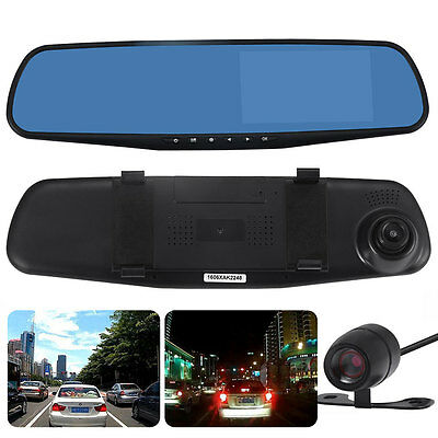 Car Dash Camera Dual Cam Vehicle Front Rear DVR Lens Recorder HD Video 1080p