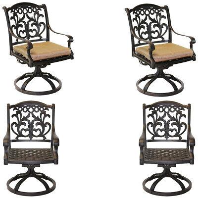Outdoor Swivel Rocking Chairs Set of 4 Cast Aluminum Flamingo Patio Seats Bronze