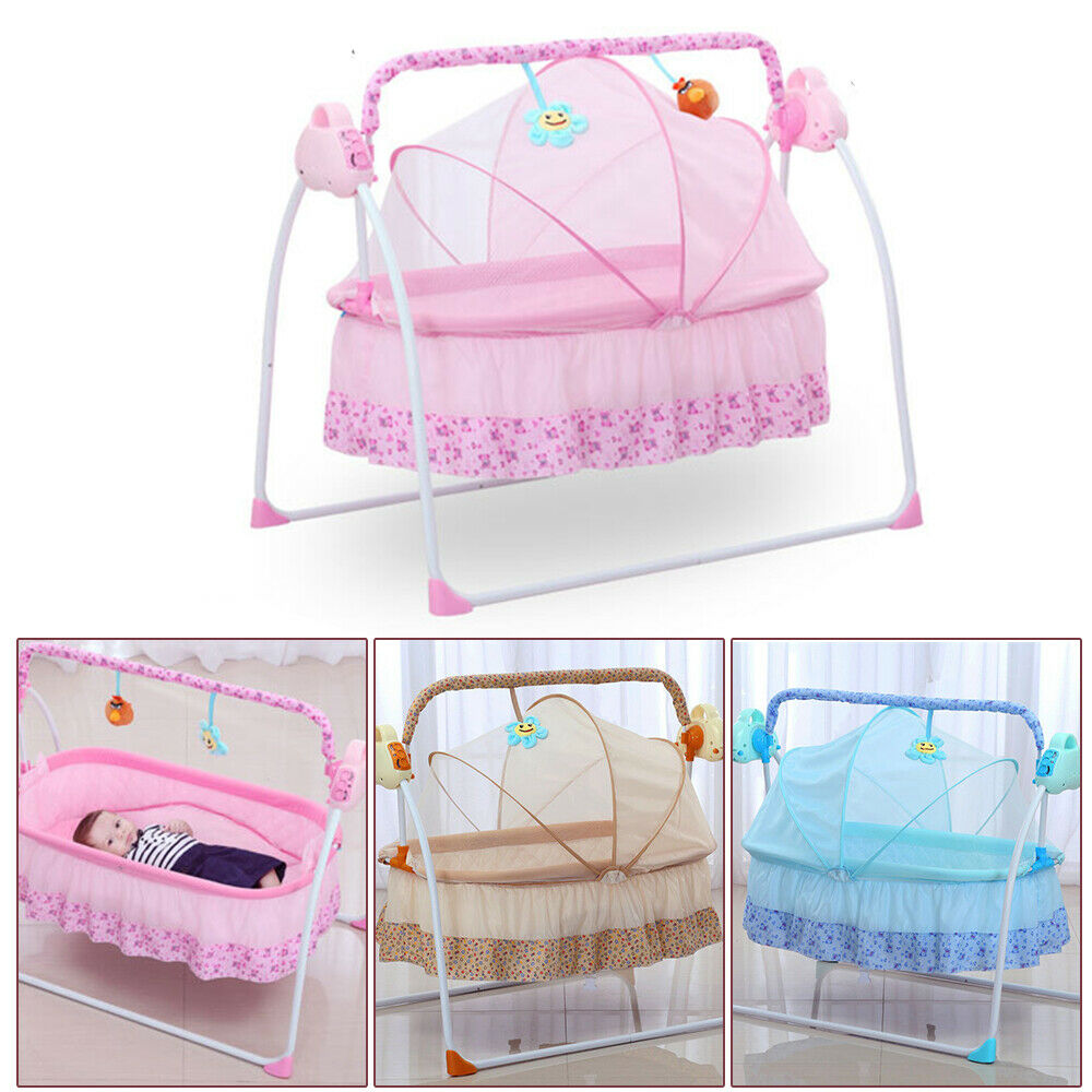 Big Electric Auto Swing Bed Baby Cradle Space Safe Crib