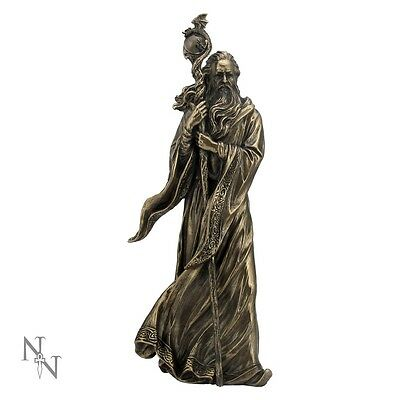 Merlin the Wizard Figurine Statue Ornament Bronze Finish With Dragon Staff 28cm