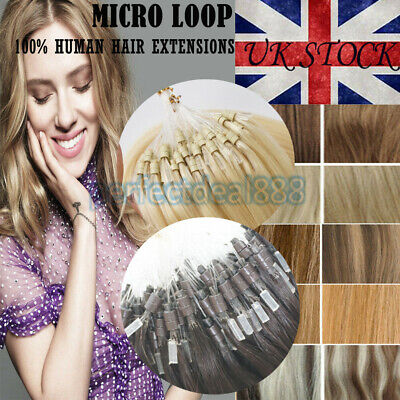 14''-24'' Double Drawn Micro Bead Ring Loop Human Remy Hair Extensions 1g/s UK