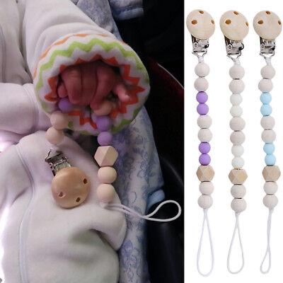 Feeding Clip - Feeding Nipple Silicone Wood Beads Teether Holder Baby Pacifier Clip Dummy Chain