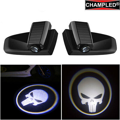 Champled Skull New Car Led Door Projector Logo Shadow Lights Emblem Wireless