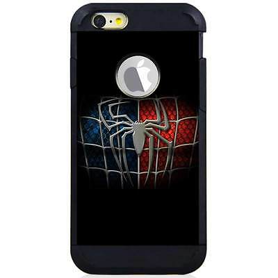 Iphone 6S/6S Plus/7/7 Plus Hybrid Case Cover Spiderman Logo Black