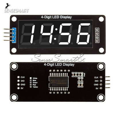 0.56'' TM1637 4Bit Digital LED 7 Segment Clock Tube Display For Arduino White ()