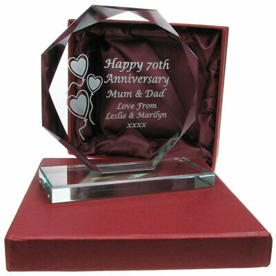 Engraved 50th Golden Wedding Anniversary Presentation Cut Glass Gift Idea ()