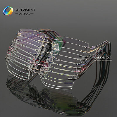 (Unisex Memory Titanium Alloy Rimless  Eyeglass Frame Optical Eyewear RX Able )
