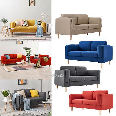 Luxury 2, 3 Seater Linen Fabric Deep Seat Sofa Couch Chair Settee with Armrest