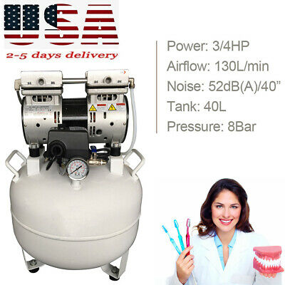 550w 40l 130lmin Noiseless Oil Free Oilless Air Compressor Dental Chair Device