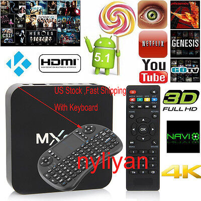 US MQ S905 Pro Android 5.1 Wifi HDMI Fully Loaded Smart TV Box With Keyboard