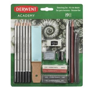 Derwent Academy 19 Piece Sketching Set - Pencils, Charcoal, Pastels, Accessories