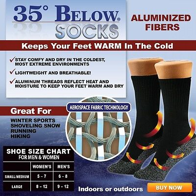 Seen On Tv  35 Below Insulated Winter Socks Thin - 2 pair - large