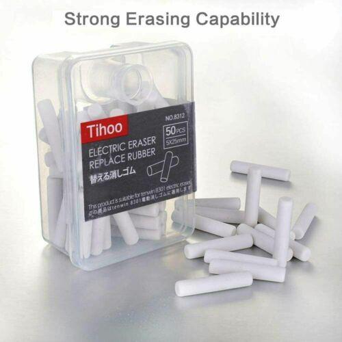Tihoo 50 Electric Eraser Refills Replaceable Pencil Erase Portable box Art Class