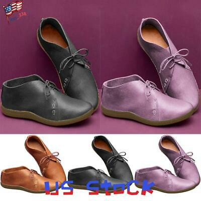 Women's Flats Casual Comfort Shoes Lace Up Vintage Style Loafers Travel Party US