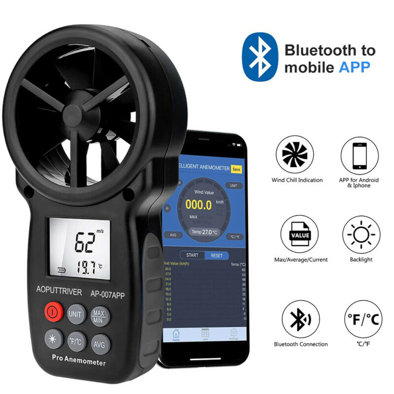 Bluetooth Vane Anemometer Test Wind Speed Meter Wind Chill Air Flow for Phone