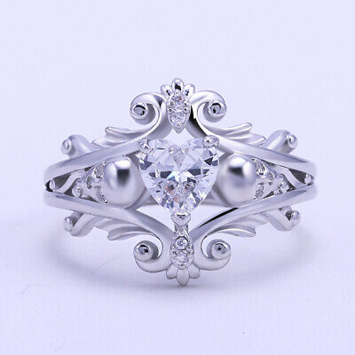 Heart Shaped Cubic Zirconia Rings 925 Silver Filled Wedding Ring Women Size 6-10 - Heart Shaped Cubic Zirconia Rings