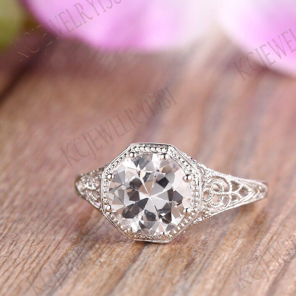 VINTAGE ANTIQUE SOLITAIRE RING WEDDING SETTING 925 Sterling Sliver ...