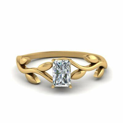 .50 Carat Radiant Cut Solitaire Diamond Delicate Leaf Pattern Ring GIA Certified