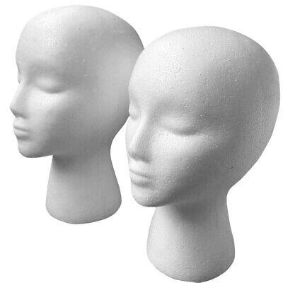 2pcs Female Foam Mannequin Head Model Hat Wig Glasses Display Stand Rack White