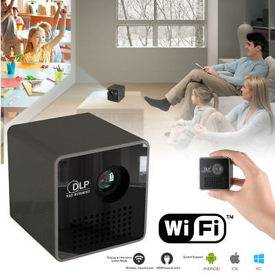 "Home Mini 1.8"" DLP Micro USB Smart Beam Black Pico LED Laser Projector Theater"