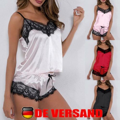 Damen Sexy Pyjama Set Schlafanzug Negligee Dessous Spitze Unterwäsche Reizwäsche