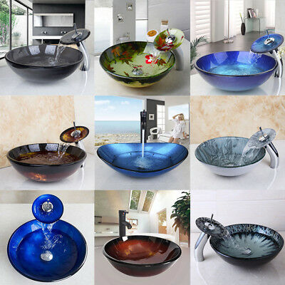 US Countertop Tempered Glass Round/Oval Basin Bowl Vessel Sinks Vanity Faucet