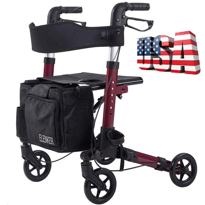 OEM ELENKER WALKER Upright Rollator Walker Medical Aid Seat & Back 4 Wheel USA