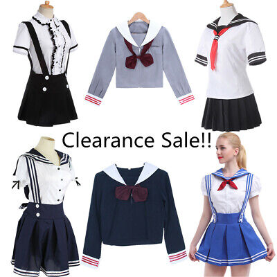 Clearance Sale JK Sailor Dress School Uniform Blouse+Skirt Set Cosplay Costume (Cosplay Sale)