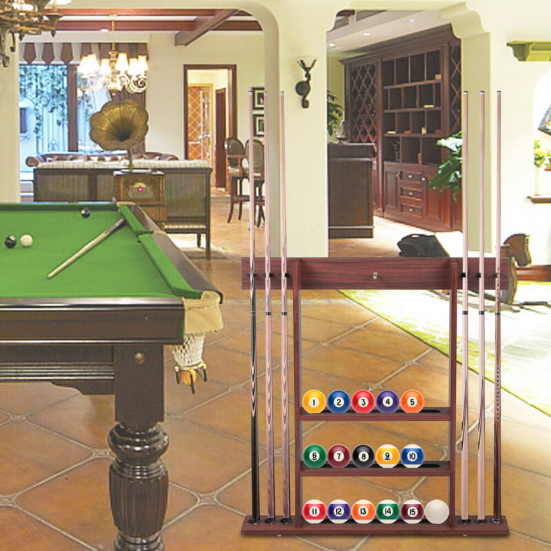 Cue Rack Only- 6 Pool Cue - Billiard Stick & Ball Set Wall Mounted Rack Holder