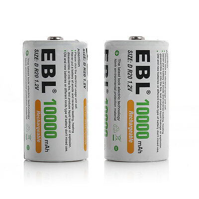 EBL 2x 10000mAh Size D Cell Ni-MH Rechargeable Batteries