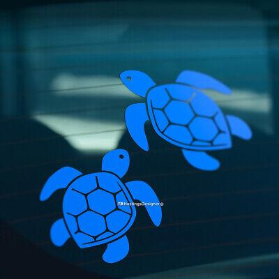 2x SEA TURTLES Surfing Camper, Car, Caravan, Bumper,Window Vinyl Decal Stickers