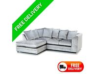 Left Hand Dylan Crush Velvet Corner Sofa with free matching footstool & free delivery