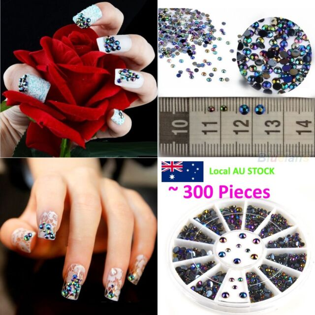 300pcs 3D Nail Art Tips gems Crystal Glitter Rhinestone DIY Decoration Wheel
