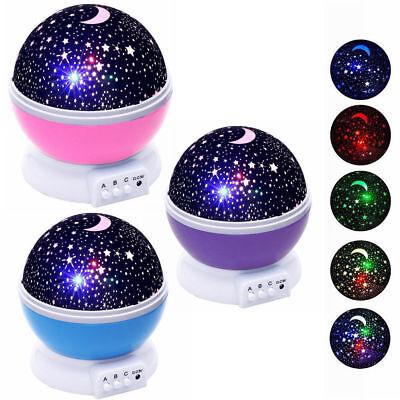 Baby Kids Constellation Night Light Lamp Moon Star Sky Projector Rotating Cosmos