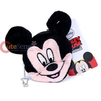 Disney Mickey Mouse Face Plush Coin Wallet Round Mini Purse Key Chain ](Mini Mouse Face)