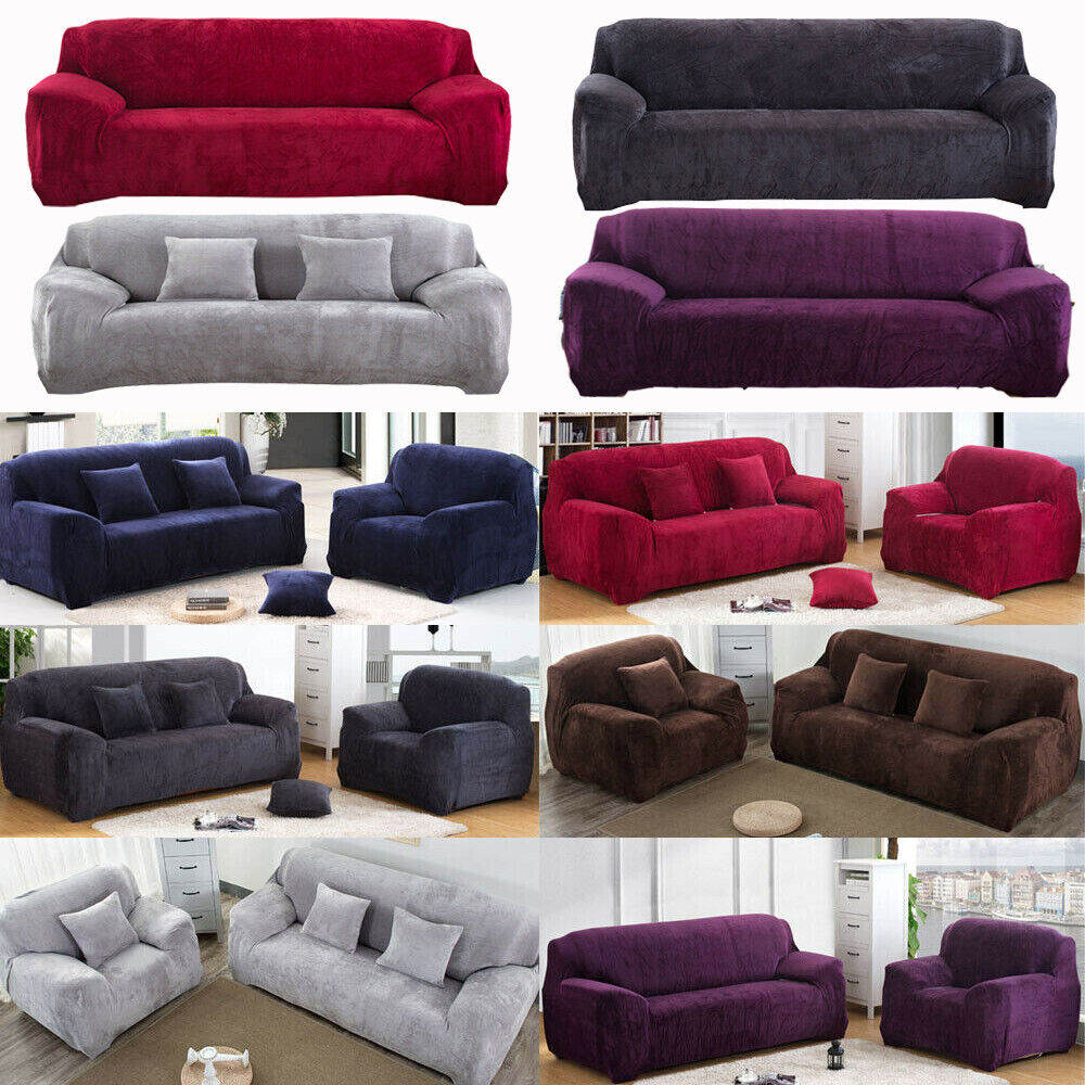 Stretch Plush Thick Sofa Covers 1 2 3 4 Seater Couch Chair S