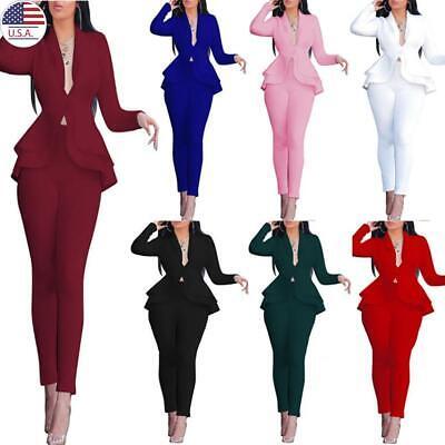 ✅2Pcs Women's Blazer Casual Dress Suit Long Sleeve OL Work Jacket Coat Pants Set Polyester Suit Jacket