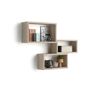 Mobili Fiver, Set di 3 cubi da parete, Giuditta, Quercia
