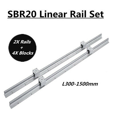 2x Sbr20 L200-1500mm Linear Rail Slide Shaft Rod With 4x Sbr20uu Bearing Blocks