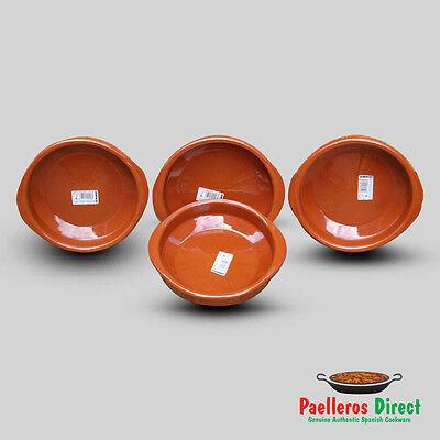 Set of 4 x 20cm Spanish Terracotta Tapas Dishes / Cazuelas