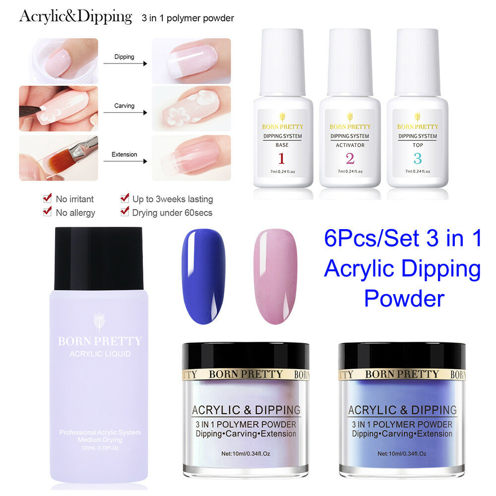 BORN PRETTY Acrylic Powder Glitter Sequins Nail Art Polymer Tips No UV Gel Tools