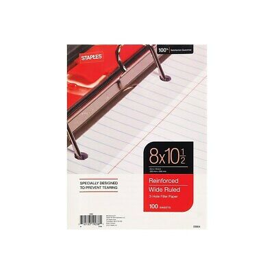 Staples Reinforced Filler Paper Wide Ruled 8 X 10 12 Each 23904w 126465