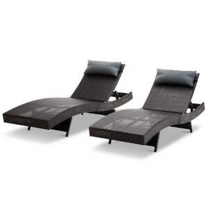 Gardeon Set of 2 Outdoor Wicker Sun Lounges - Black