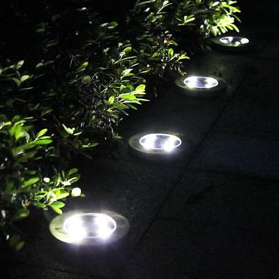 4 Pack White Solar Power 8LED Lights Road Driveway Pathway Dock Path Ground Step ()