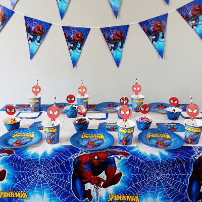 Theme For Birthday Party (74pcs Spider Man Theme for 12 Kids Child Tableware Set Birthday Party)