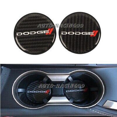 2x Dodge Carbon Fiber Car Cup Holder Pad Water Cup Slot Non-Slip Mat Accessories