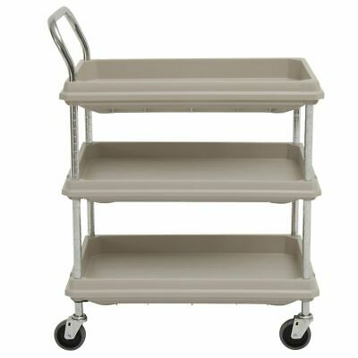 Hubert Utility Cart With 3 Deep Shelves Grey Plastic - 32 L X 21 12 W X 41 H